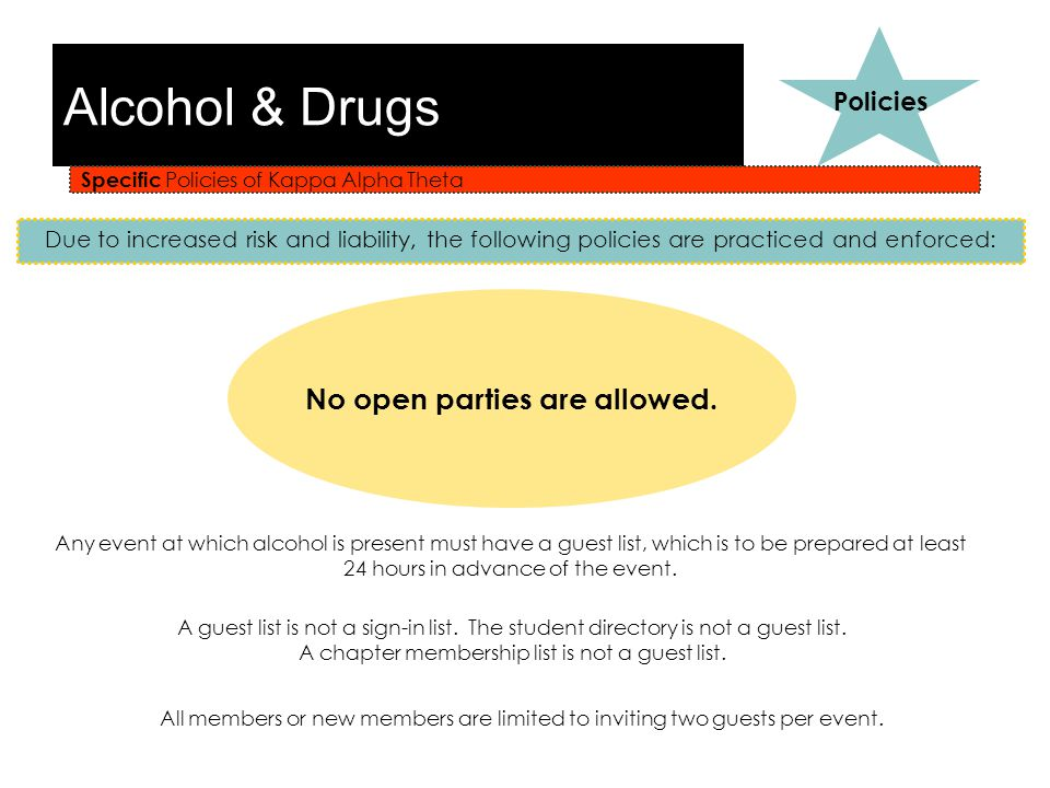 Alcohol & Drugs Specific Policies of Kappa Alpha Theta Policies Due to increased risk and liability, the following policies are practiced and enforced: No open parties are allowed.