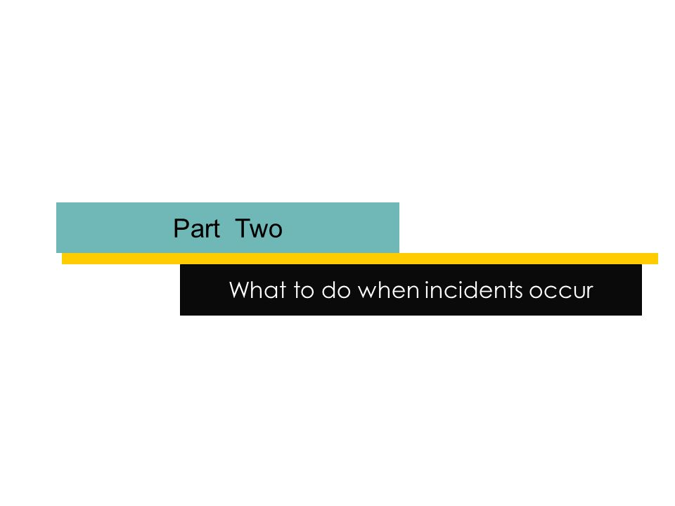 Part Two What to do when incidents occur
