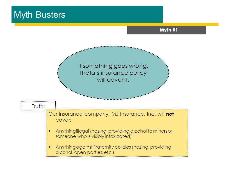 Myth Busters Myth #1 If something goes wrong, Theta's insurance policy will cover it.