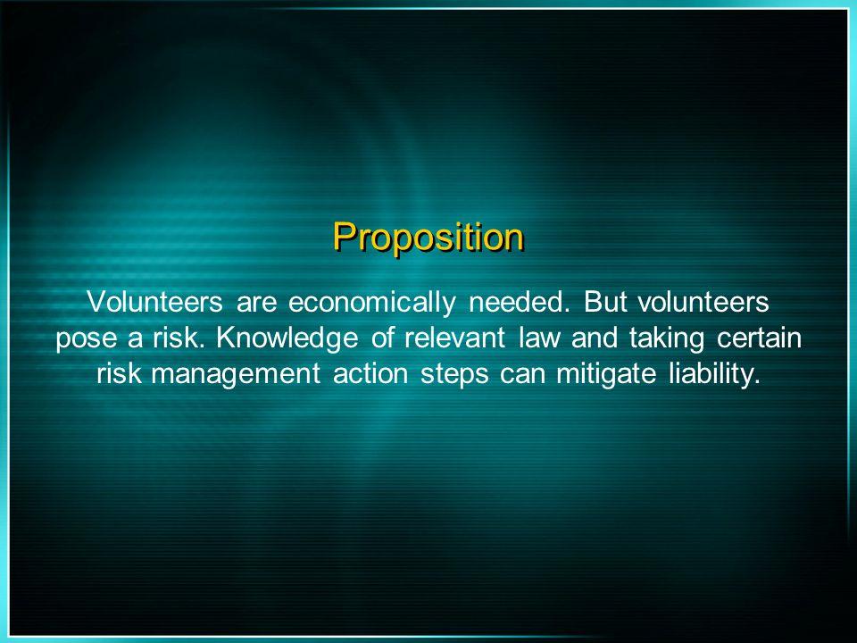 Objectives Economic Impact of Volunteers Legal Framework of Specific Laws Regarding Volunteers Risk Management of Volunteer Programs
