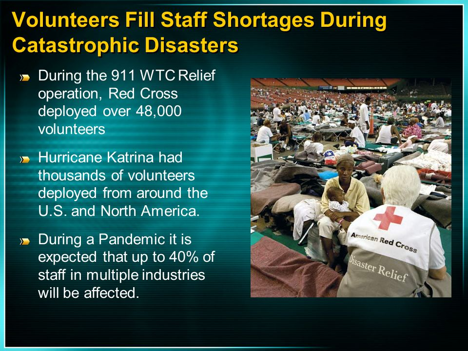 Volunteers Fill Staff Shortages During Catastrophic Disasters During the 911 WTC Relief operation, Red Cross deployed over 48,000 volunteers Hurricane
