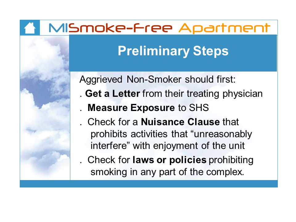 Preliminary Steps Aggrieved Non-Smoker should first:.