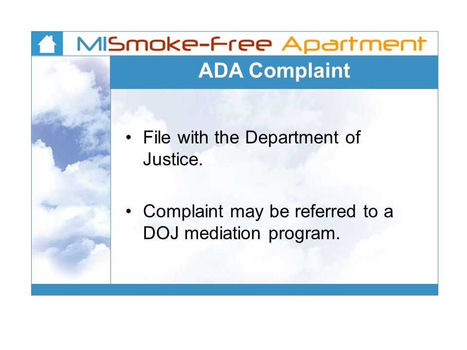 ADA Complaint File with the Department of Justice.