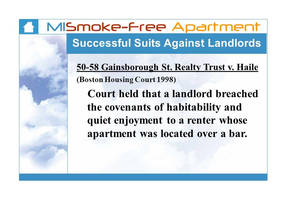 Successful Suits Against Landlords 50-58 Gainsborough St.
