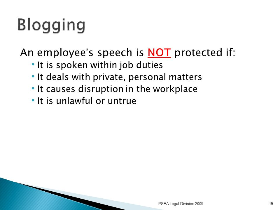 PSEA Legal Division 200919 An employee's speech is NOT protected if: It is spoken within job duties It deals with private, personal matters It causes disruption in the workplace It is unlawful or untrue