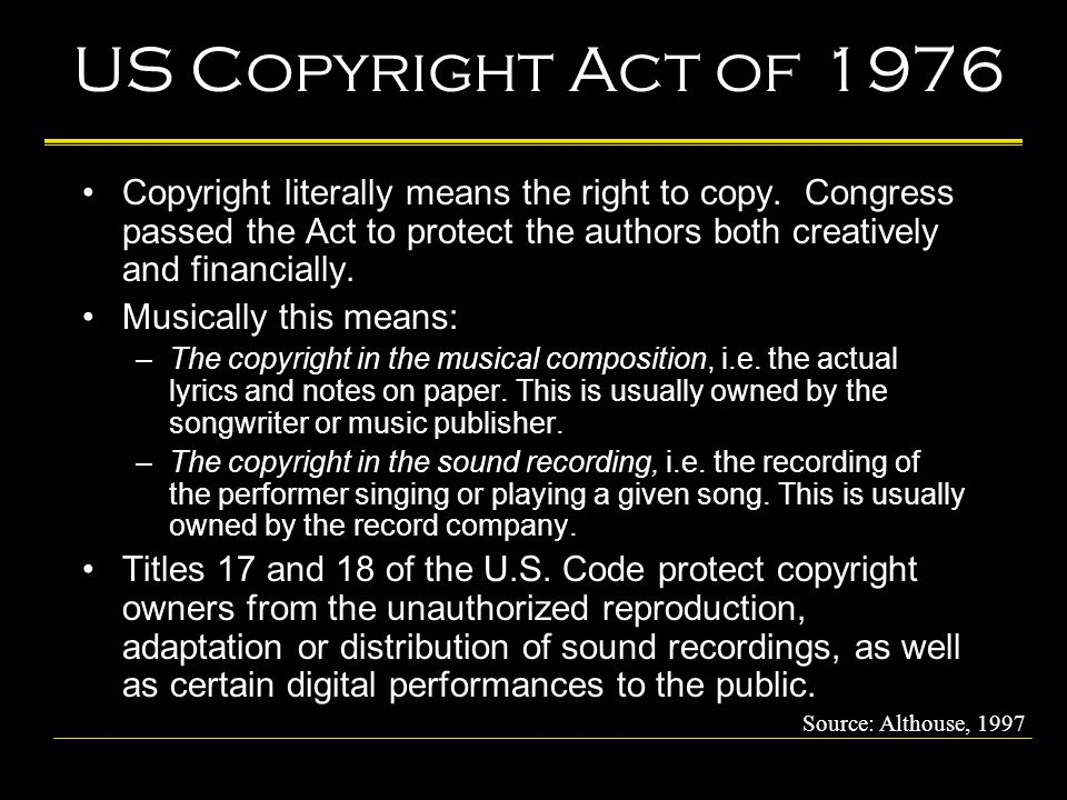 US Copyright Act of 1976 Copyright literally means the right to copy.