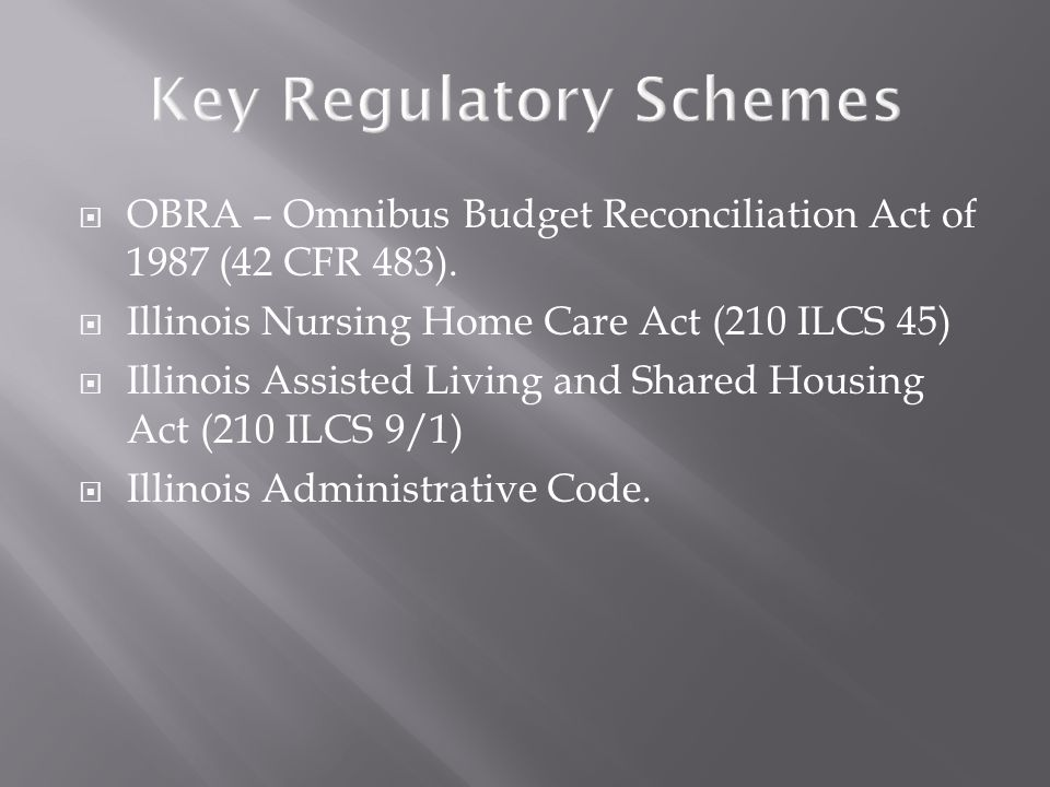  OBRA – Omnibus Budget Reconciliation Act of 1987 (42 CFR 483).  Illinois Nursing Home Care Act (210 ILCS 45)  Illinois Assisted Living and Shared