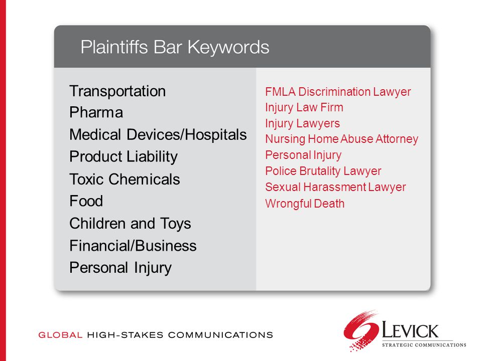 FMLA Discrimination Lawyer Transportation Pharma Medical Devices/Hospitals Product Liability Toxic Chemicals Food Children and Toys Financial/Business Personal Injury Injury Law Firm Injury Lawyers Nursing Home Abuse Attorney Personal Injury Police Brutality Lawyer Sexual Harassment Lawyer Wrongful Death