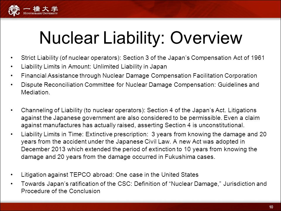 Nuclear Liability: Overview Strict Liability (of nuclear operators): Section 3 of the Japan's Compensation Act of 1961 Liability Limits in Amount: Unl