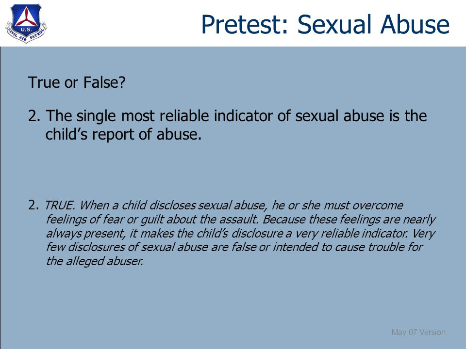 May 07 Version Pretest: Sexual Abuse True or False.