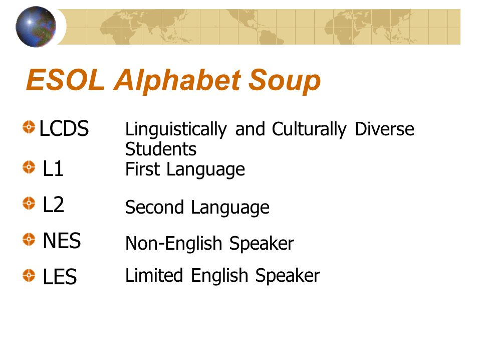 ESOL Alphabet Soup LCDS Linguistically and Culturally Diverse Students L1 First Language Second Language Non-English Speaker Limited English Speaker L
