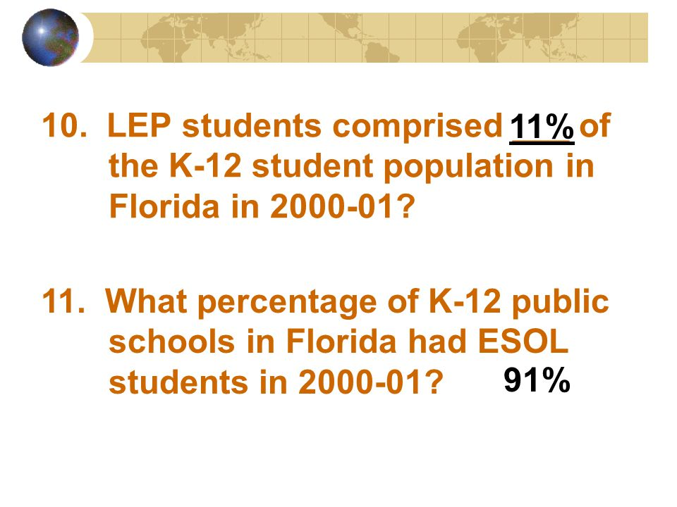 10. LEP students comprised ___ of the K-12 student population in Florida in 2000-01? 11. What percentage of K-12 public schools in Florida had ESOL st