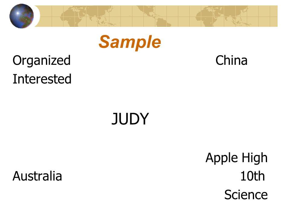Sample OrganizedChina Interested JUDY Apple High Australia 10th Science