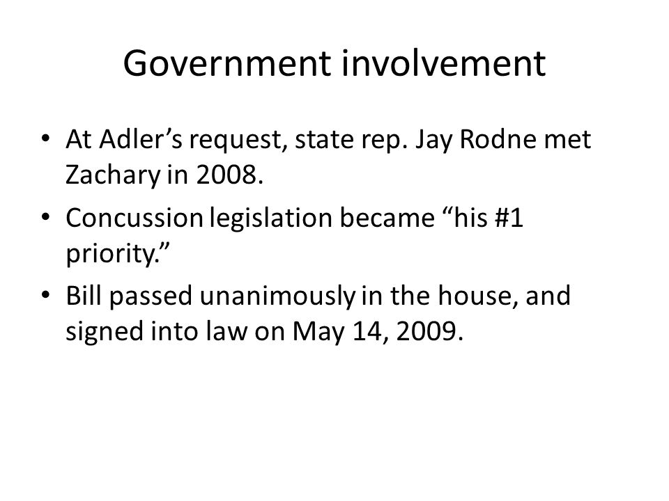 Government involvement At Adler's request, state rep.