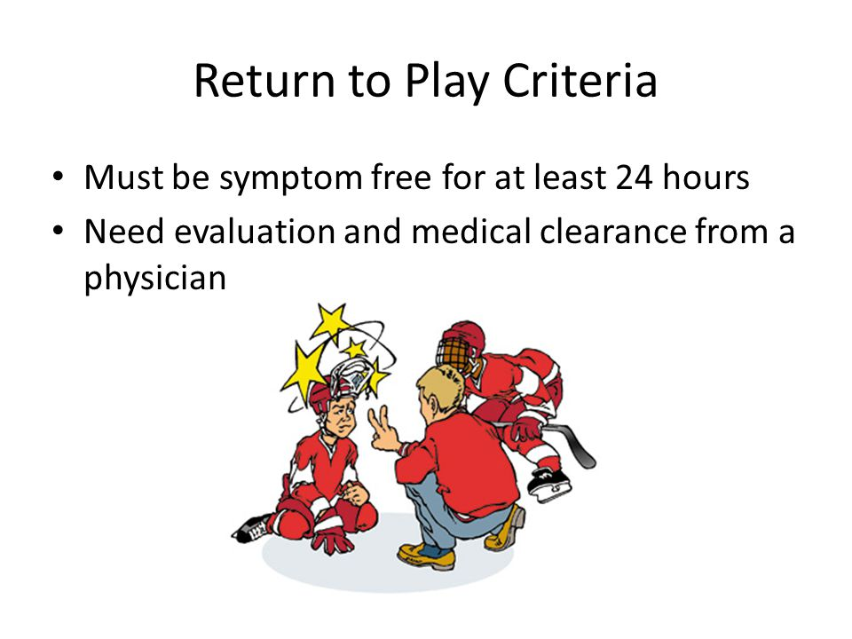 Return to Play Criteria Must be symptom free for at least 24 hours Need evaluation and medical clearance from a physician