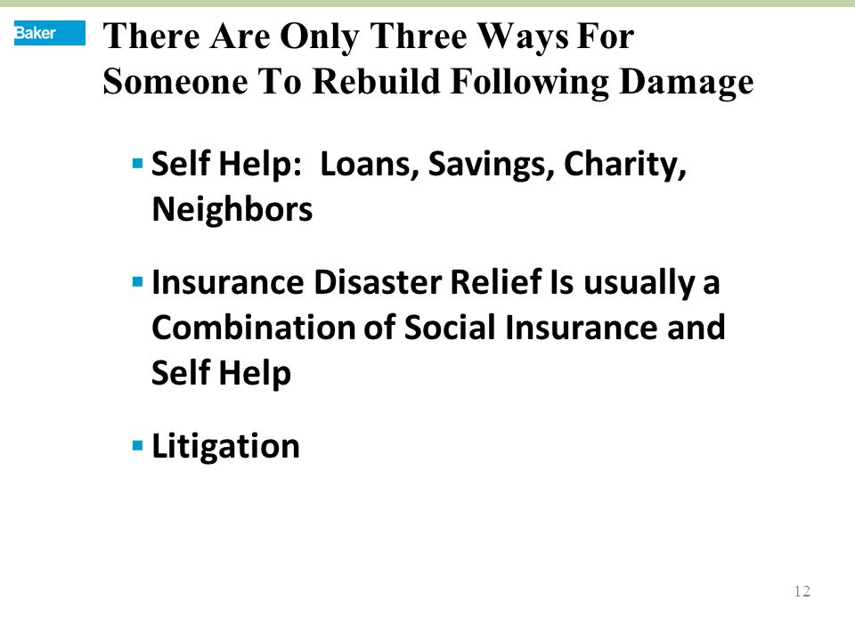 12 There Are Only Three Ways For Someone To Rebuild Following Damage  Self Help: Loans, Savings, Charity, Neighbors  Insurance Disaster Relief Is usually a Combination of Social Insurance and Self Help  Litigation