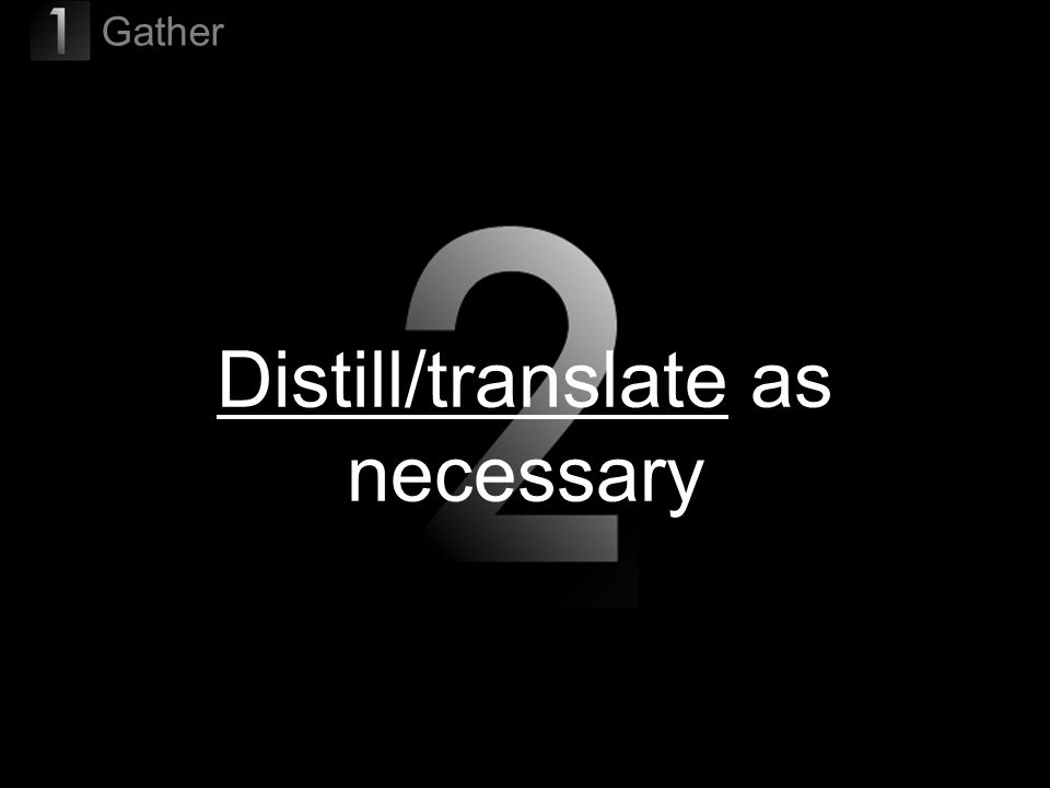 37 Distill/translate as necessary Gather