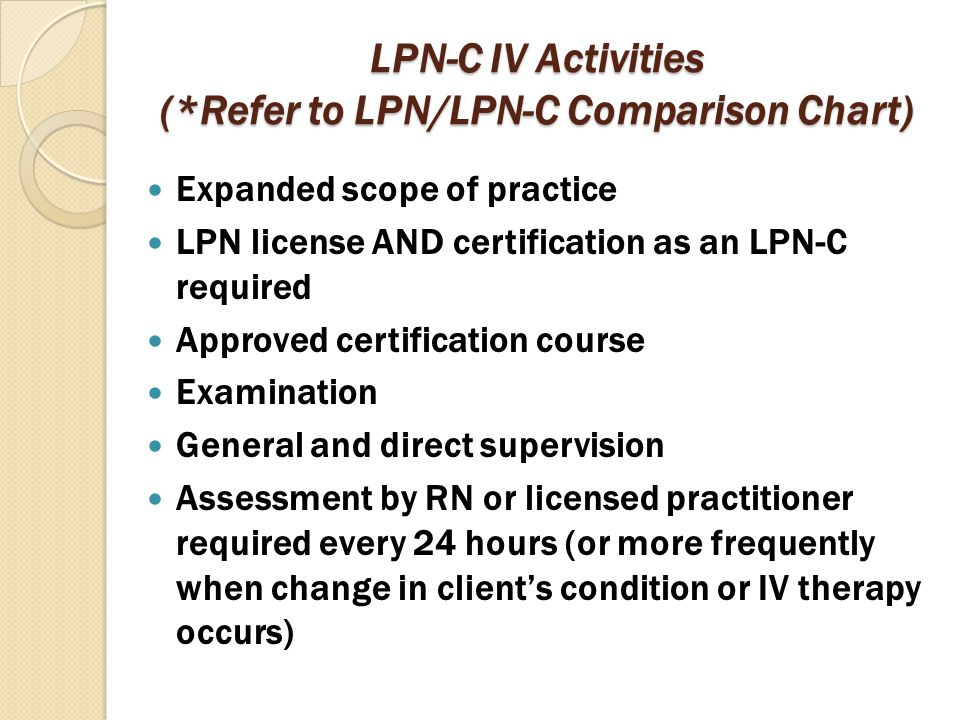 LPN-C Activities Adult Patients (*Direct Supervision) Initial venipuncture to upper extremity (with use of 3-inch device or less) ◦ NOTE: RN MUST PERFORM FACE-TO-FACE ASSESSMENT OF PATIENT PRIOR TO IV INSERTION Infuse IV fluids and administer medications through a continuous flow central line ◦ NOTE: INFUSING FLUIDS AND ADMINISTERING MEDICATIONS THROUGH AN INTERMITTENT CENTRAL LINE IS NOT PERMITTED Administer the initial dose of an approved medication May add 500cc Dextrose 10% as a meal replacement