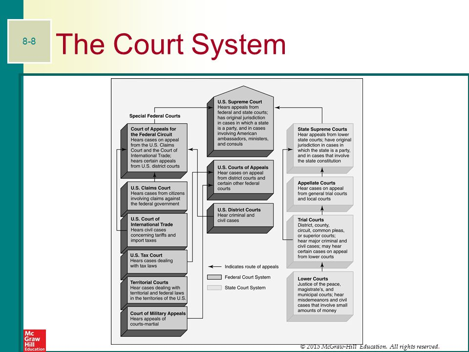 © 2015 McGraw-Hill Education. All rights reserved.. 8-8 The Court System