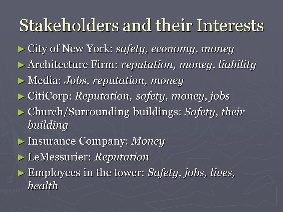 Stakeholders and their Interests ► City of New York: safety, economy, money ► Architecture Firm: reputation, money, liability ► Media: Jobs, reputation, money ► CitiCorp: Reputation, safety, money, jobs ► Church/Surrounding buildings: Safety, their building ► Insurance Company: Money ► LeMessurier: Reputation ► Employees in the tower: Safety, jobs, lives, health