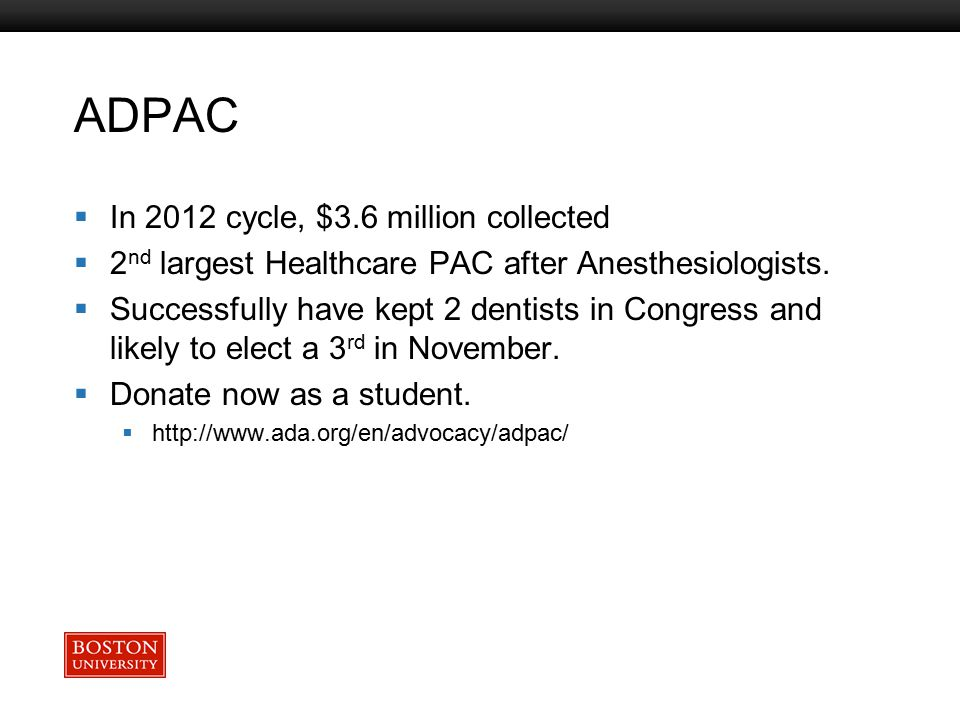 Boston University Slideshow Title Goes Here ADPAC  In 2012 cycle, $3.6 million collected  2 nd largest Healthcare PAC after Anesthesiologists.  Suc