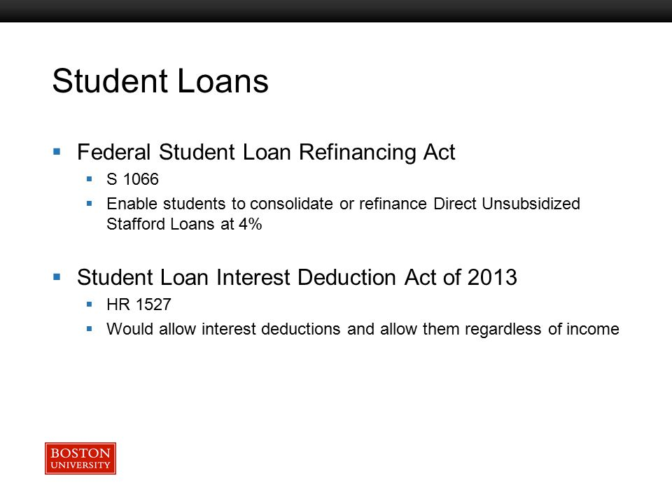 Boston University Slideshow Title Goes Here Student Loans  Federal Student Loan Refinancing Act  S 1066  Enable students to consolidate or refinanc