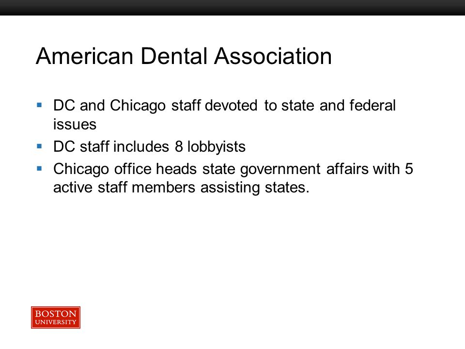 Boston University Slideshow Title Goes Here American Dental Association  DC and Chicago staff devoted to state and federal issues  DC staff includes 8 lobbyists  Chicago office heads state government affairs with 5 active staff members assisting states.
