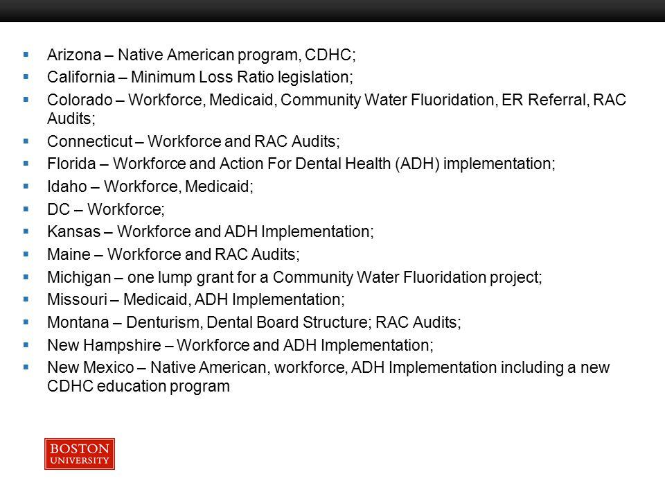 Boston University Slideshow Title Goes Here  Arizona – Native American program, CDHC;  California – Minimum Loss Ratio legislation;  Colorado – Workforce, Medicaid, Community Water Fluoridation, ER Referral, RAC Audits;  Connecticut – Workforce and RAC Audits;  Florida – Workforce and Action For Dental Health (ADH) implementation;  Idaho – Workforce, Medicaid;  DC – Workforce;  Kansas – Workforce and ADH Implementation;  Maine – Workforce and RAC Audits;  Michigan – one lump grant for a Community Water Fluoridation project;  Missouri – Medicaid, ADH Implementation;  Montana – Denturism, Dental Board Structure; RAC Audits;  New Hampshire – Workforce and ADH Implementation;  New Mexico – Native American, workforce, ADH Implementation including a new CDHC education program
