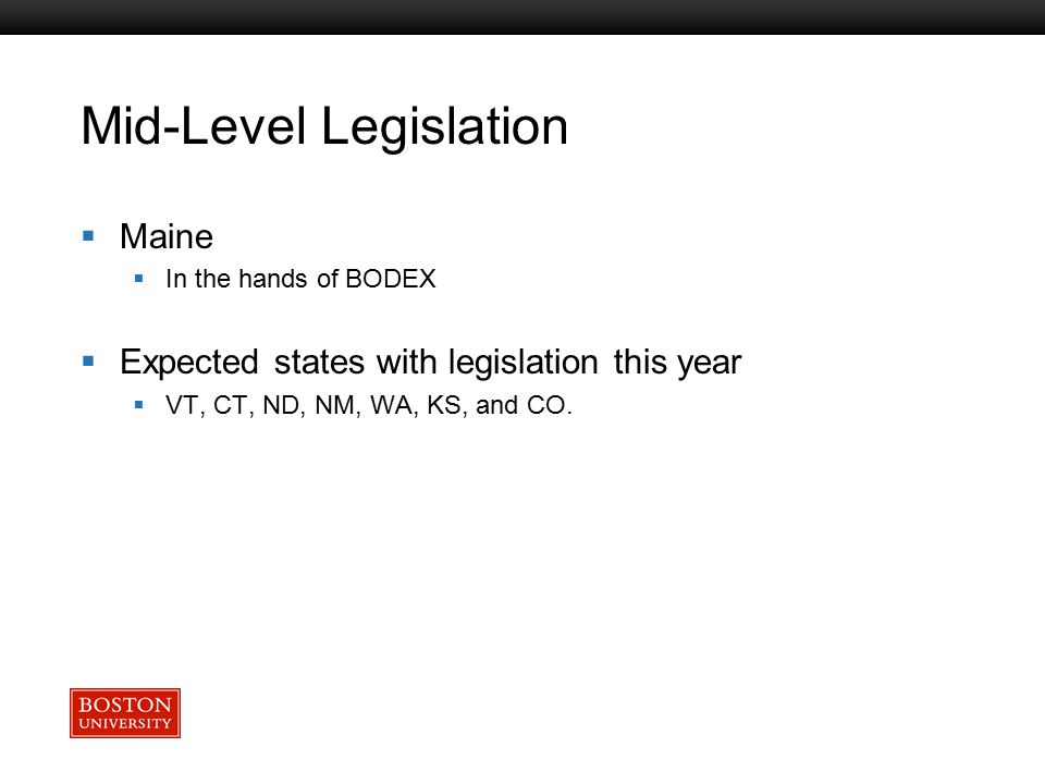 Boston University Slideshow Title Goes Here Mid-Level Legislation  Maine  In the hands of BODEX  Expected states with legislation this year  VT, CT, ND, NM, WA, KS, and CO.