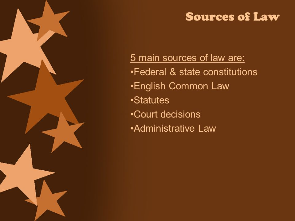 Sources of Law 5 main sources of law are: Federal & state constitutions English Common Law Statutes Court decisions Administrative Law