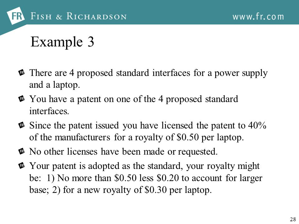 28 Example 3 There are 4 proposed standard interfaces for a power supply and a laptop.