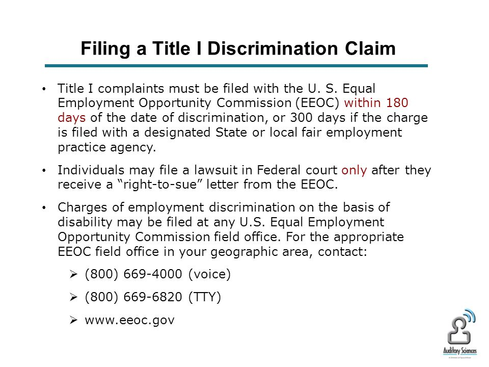 ADA – Title I: Employment Title I requires employers with 15 or more employees to provide qualified individuals with disabilities an equal opportunity to benefit from the full range of employment- related opportunities available to others.