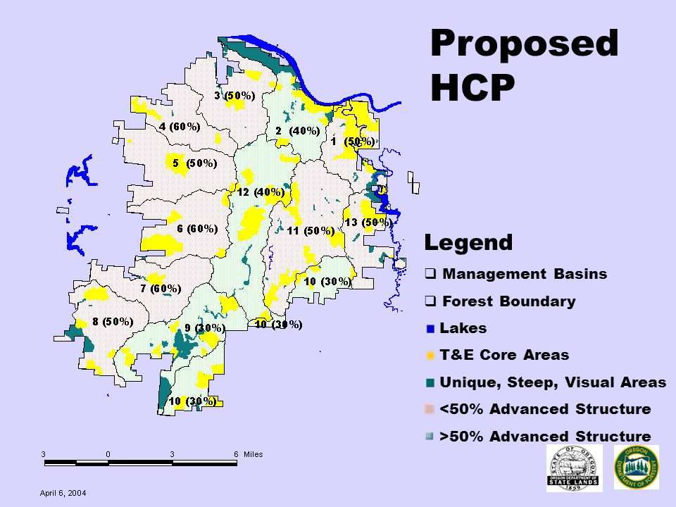 Proposed HCP Legend  Management Basins  Forest Boundary Lakes T&E Core Areas Unique, Steep, Visual Areas <50% Advanced Structure >50% Advanced Struc