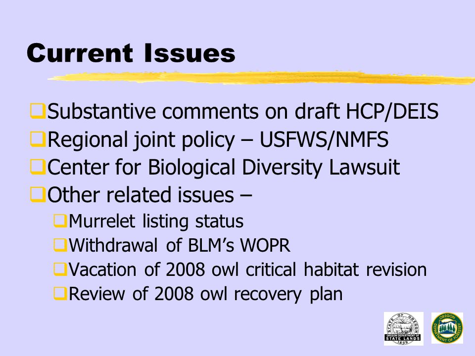 Current Issues  Substantive comments on draft HCP/DEIS  Regional joint policy – USFWS/NMFS  Center for Biological Diversity Lawsuit  Other related issues –  Murrelet listing status  Withdrawal of BLM's WOPR  Vacation of 2008 owl critical habitat revision  Review of 2008 owl recovery plan