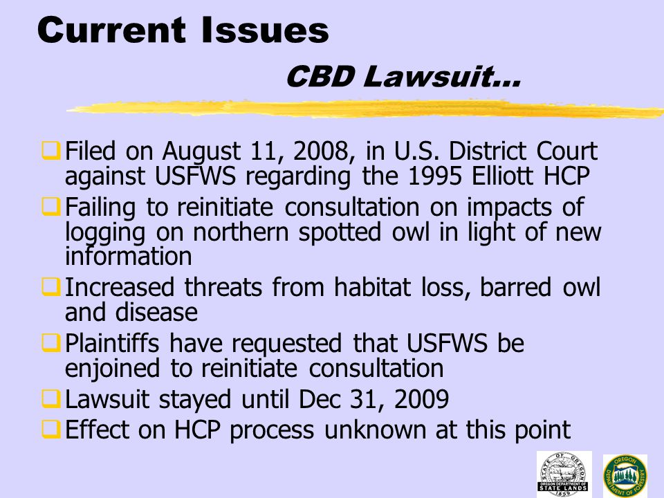 Current Issues CBD Lawsuit…  Filed on August 11, 2008, in U.S.