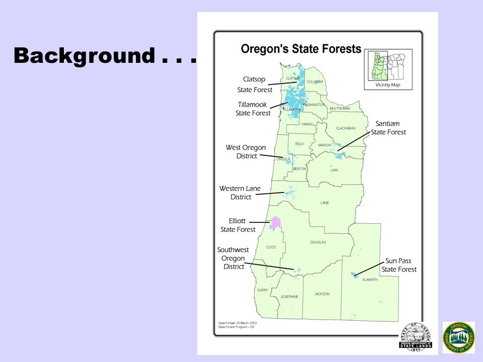 Elliott State Forest 93,000 Acres East of Reedsport 91% Common School 9% Board of Forestry Established in 1930