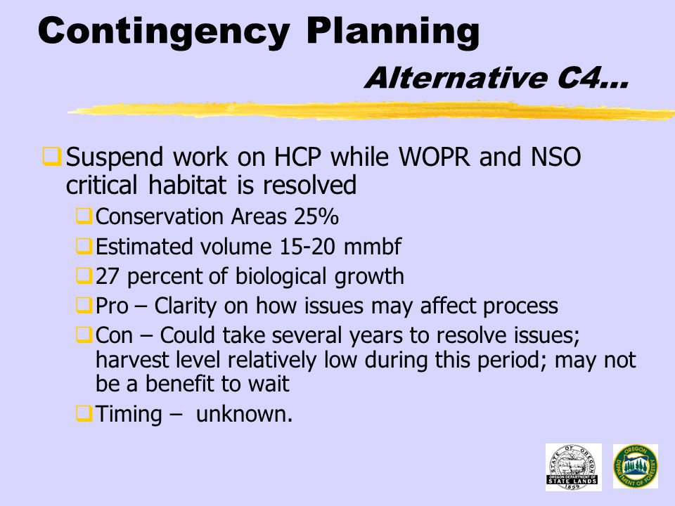 Contingency Planning Alternative C4…  Suspend work on HCP while WOPR and NSO critical habitat is resolved  Conservation Areas 25%  Estimated volume