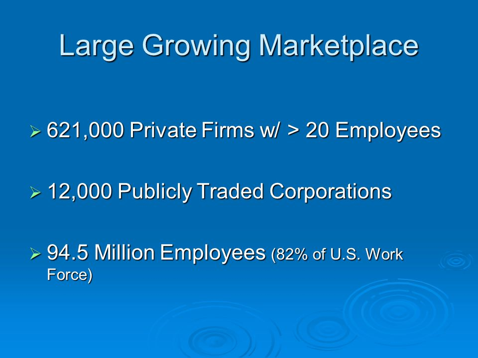 Large Growing Marketplace  621,000 Private Firms w/ > 20 Employees  12,000 Publicly Traded Corporations  94.5 Million Employees (82% of U.S. Work F