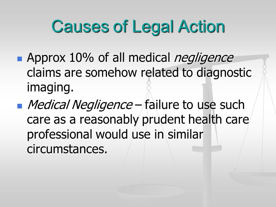 Causes of Legal Action Approx 10% of all medical negligence claims are somehow related to diagnostic imaging. Approx 10% of all medical negligence cla