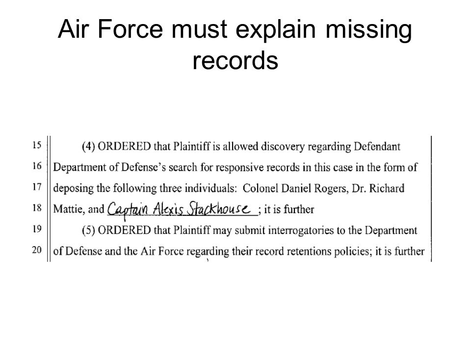 Air Force must explain missing records