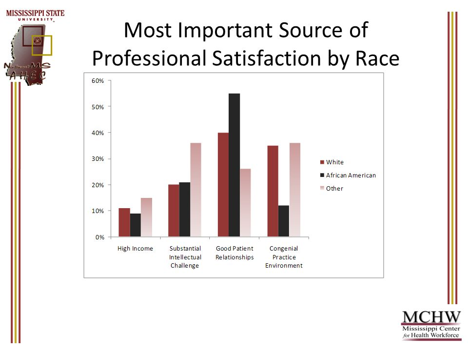 Most Important Source of Professional Satisfaction by Race