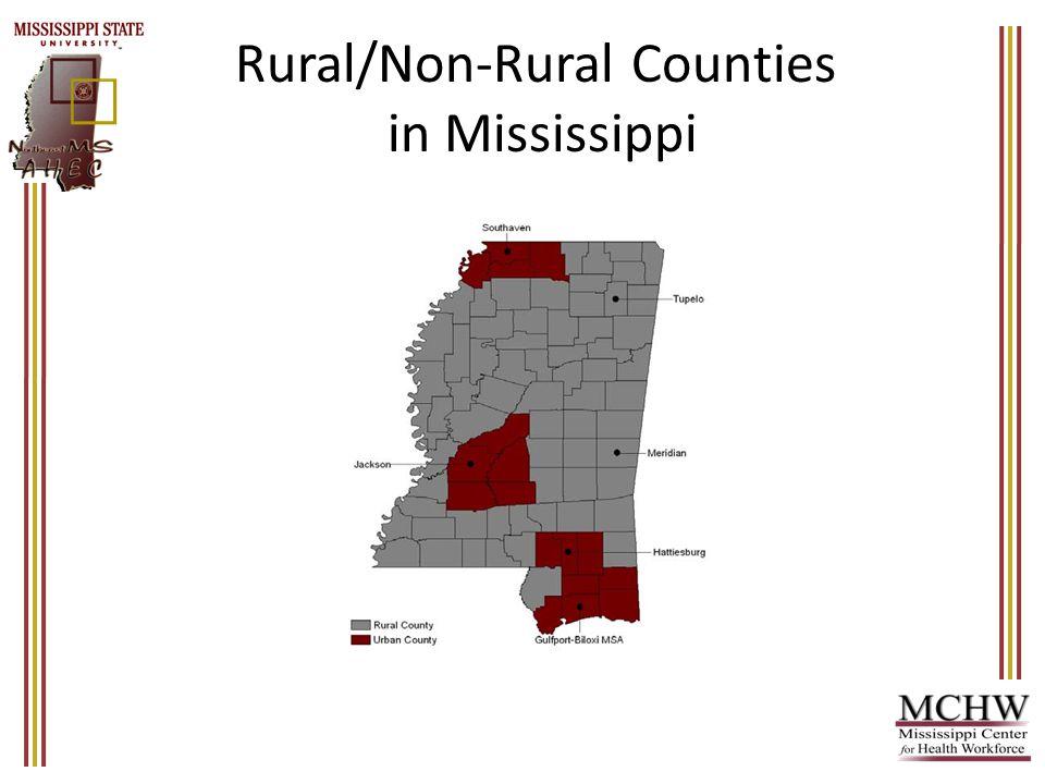 HPSA/Non-HPSA Counties in Mississippi