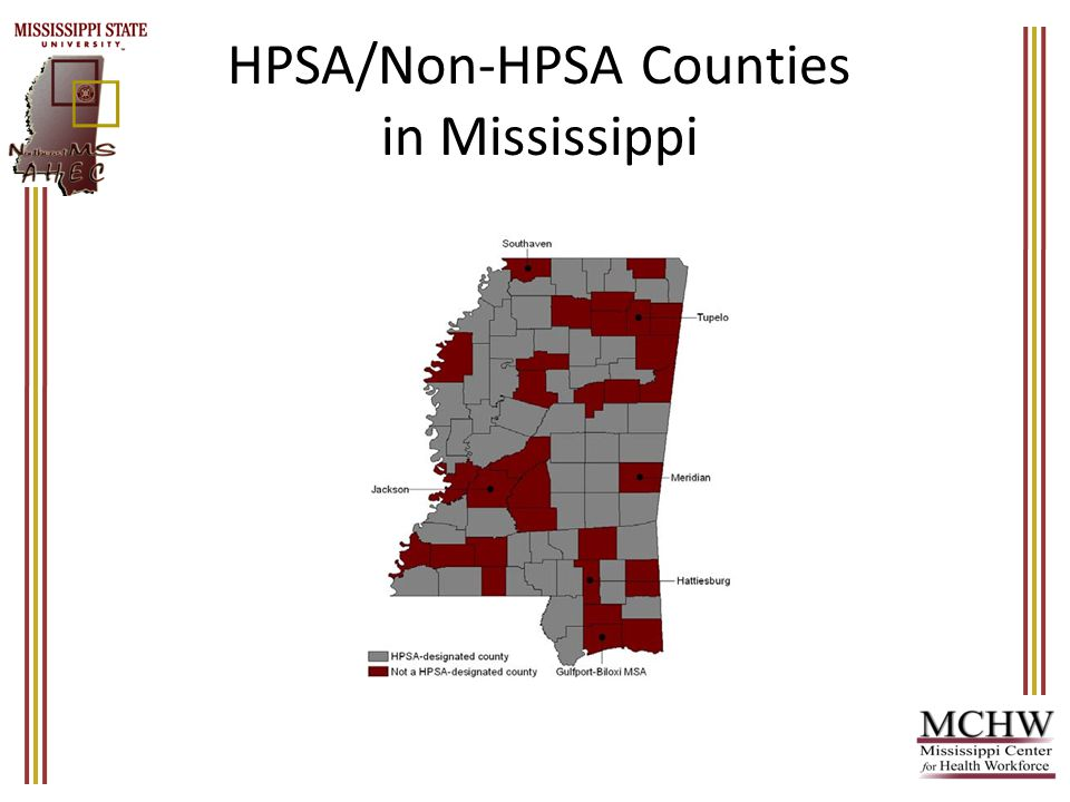 HPSA/Non-HPSA Counties in Mississippi