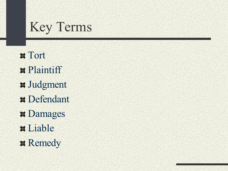 Key Terms Tort Plaintiff Judgment Defendant Damages Liable Remedy