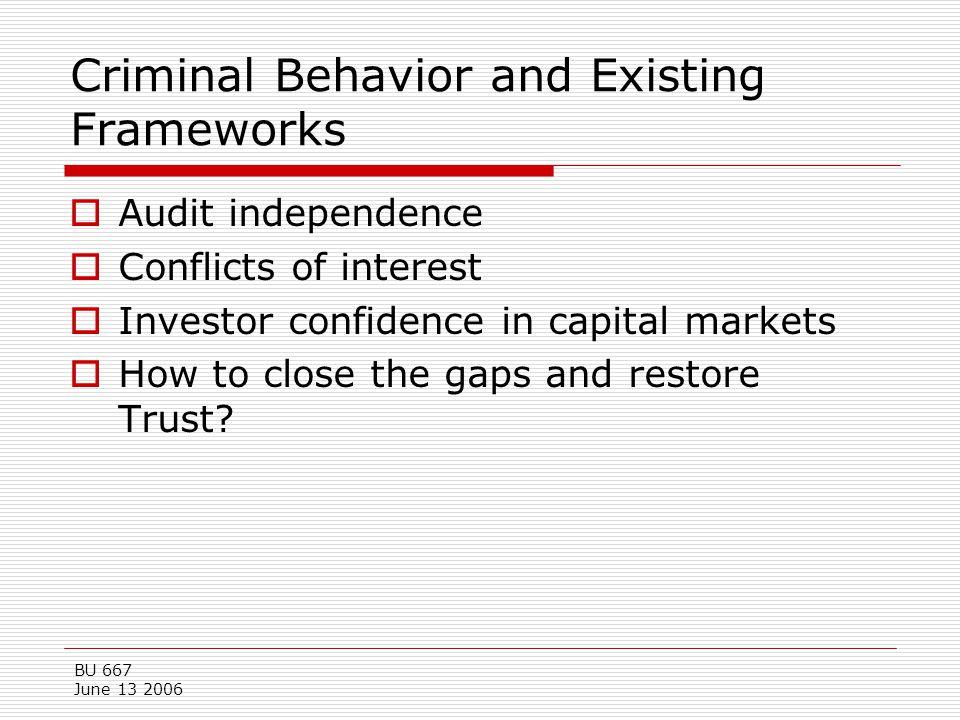 BU 667 June 13 2006 Criminal Behavior and Existing Frameworks  Audit independence  Conflicts of interest  Investor confidence in capital markets 