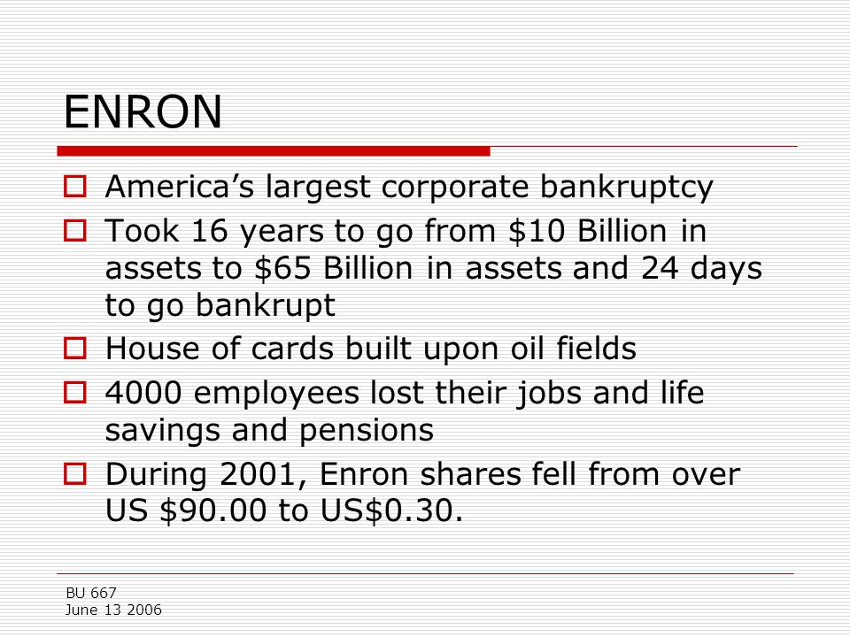 BU 667 June 13 2006 ENRON  America's largest corporate bankruptcy  Took 16 years to go from $10 Billion in assets to $65 Billion in assets and 24 da