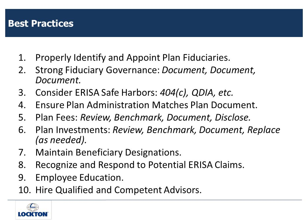 Best Practices 1.Properly Identify and Appoint Plan Fiduciaries.