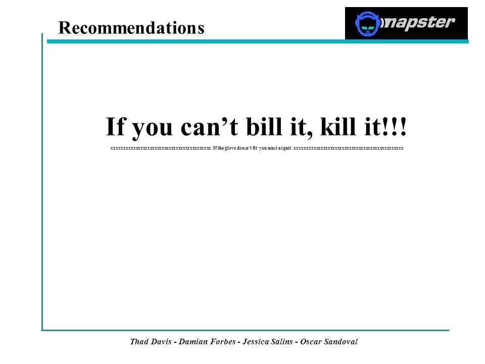 Thad Davis - Damian Forbes - Jessica Salins - Oscar Sandoval If you can't bill it, kill it!!.
