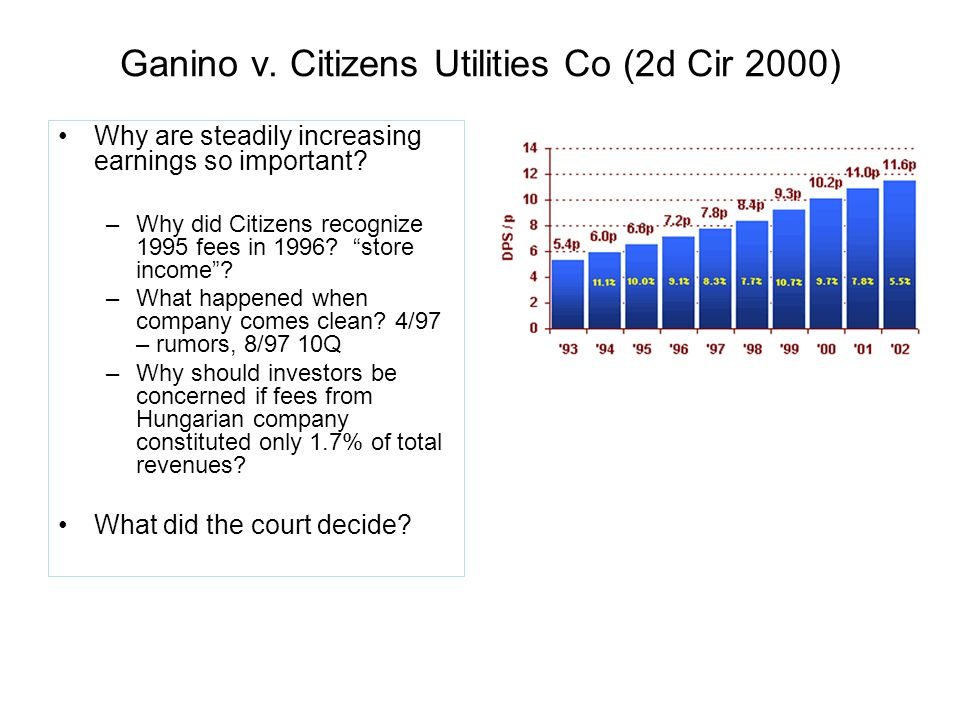 Ganino v. Citizens Utilities Co (2d Cir 2000) Why are steadily increasing earnings so important.