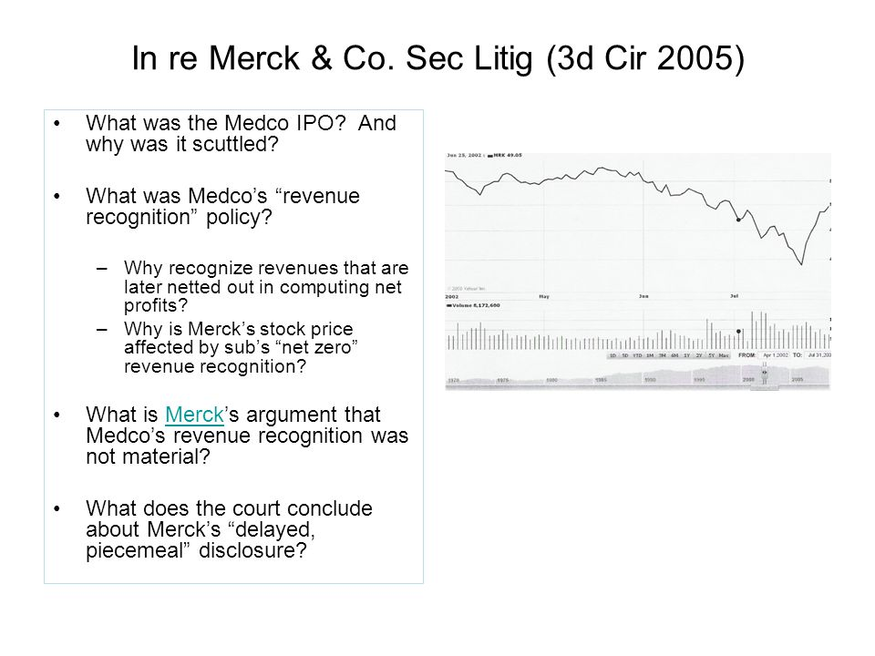 In re Merck & Co. Sec Litig (3d Cir 2005) What was the Medco IPO.